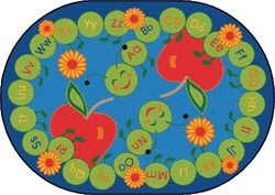 "ABC Caterpillar Rug Factory Second - Oval - 8'3"" x 11'8"" - CFKFS2216 - Carpets for Kids"