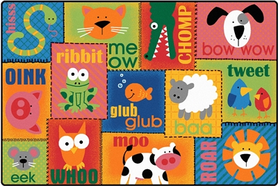Animal Sounds Toddler Rug Factory Second - Rectangle - 6' x 9' - CFKFS2900 - Carpets for Kids