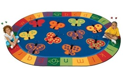 "123 ABC Butterfly Fun Rug Factory Second - Oval - 5'5"" x 7'8"" - CFKFS3505 - Carpets for Kids"
