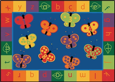 "123 ABC Butterfly Fun Rug Factory Second - Rectangle - 7'8"" x 10'10"" - CFK3517 - Carpets for Kids"