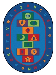 "Hopscotch Learning Rug Factory Second - Oval - 6'9"" x 9'5"" - CFKFS3695 - Carpets for Kids"