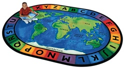 "Circletime Around the World Rug  Factory Second- Oval - 6'9"" x 9'5"" - CFKFS4106 - Carpets for Kids"