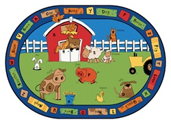 "Alphabet Farm Rug Factory Second - Oval - 7'8"" x 10'10"" - CFKFS5207 - Carpets for Kids"