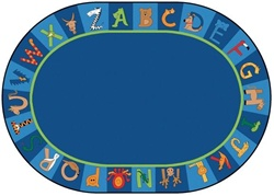 "A to Z Animals Rug Factory Second - Oval - 8'3"" x 11'8"" - CFKFS5508 - Carpets for Kids"
