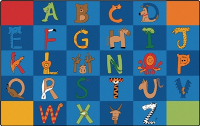 "A to Z Animals Rug Factory Second - Rectangle - 8'4"" x 13'4"" - CFKFS5534 - Carpets for Kids"