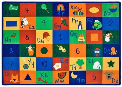 "Learning Blocks Rug Factory Second - Rectangle - 4'5"" x 5'10"" - CFKFS7001 - Carpets for Kids"