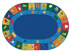 "Learning Blocks Rug Factory Second - Oval - 6'9"" x 9'5"" - CFKFS7006 - Carpets for Kids"