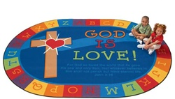 "God is Love Learning Rug Factory Second - Oval - 6'9"" x 9'5"" - CFKFS83006 - Carpets for Kids"