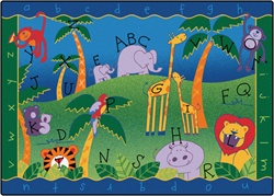 "Alphabet Jungle Rug Factory Second - Rectangle - 4'5"" x 5'10"" - CFKFS9301 - Carpets for Kids"