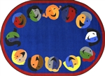 "Joyful Faces Rug - Blue - Round - 7'7"" - JC1406E01 - Joy Carpets"