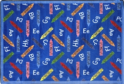 "Crayons Rug - Blue - Rectangle - 3'10"" x 5'4"" - JC1418B01 - Joy Carpets"