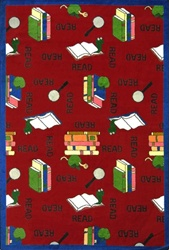 "Bookworm Rug - Red - Rectangle - 5'4"" x 7'8"" - JC1419C03 - Joy Carpets"