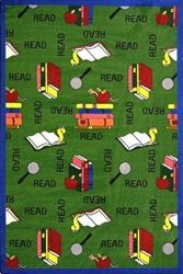 "Bookworm Rug - Green - Rectangle - 7'8"" x 10'9"" - JC1419D02 - Joy Carpets"