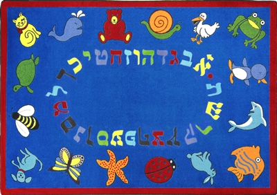 "ABC Animals Rug Hebrew Alphabet - Red - Oval - 7'8"" x 10'9"" - JC1566DD02 - Joy Carpets"