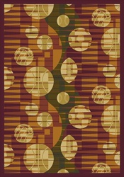 "Keeping Score Rug - Rust - Rectangle - 5'4"" x 7'8"" - JC1584C05 - Joy Carpets"
