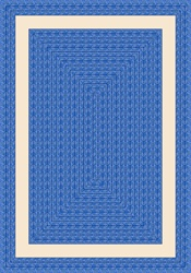 "Sharing Circle Faux Braided Rug - Blue - Rectangle - 3'10"" x 5'4"" - JC1632B01 - Joy Carpets"
