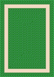 "Sharing Circle Faux Braided Rug - Green - Rectangle - 3'10"" x 5'4"" - JC1632B03 - Joy Carpets"