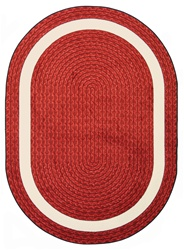"Sharing Circle Faux Braided Rug - Red - Oval - 3'10"" x 5'4"" - JC1632BB02 - Joy Carpets"