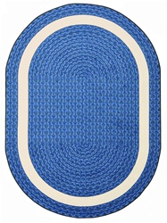 "Sharing Circle Faux Braided Rug - Blue - Oval - 7'8"" x 10'9"" - JC1632DD01 - Joy Carpets"