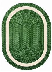 "Sharing Circle Faux Braided Rug - Green - Oval - 7'8"" x 10'9"" - JC1632DD03 - Joy Carpets"