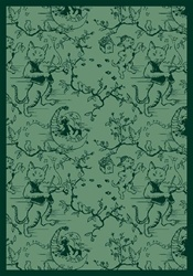 "Fancy Fiddler Rug - Green - Rectangle - 7'8"" x 10'9"" - JC434D03 - Joy Carpets"