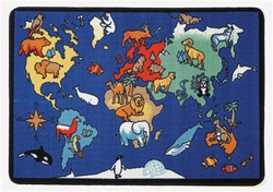 "World Animals Play Rug - Rectangle - 27"" x 80"" - LC159 - Learning Carpets"