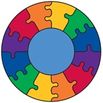 "Puzzle Rainbow Play Rug - Round - 6'6"" - LC305 - Learning Carpets"