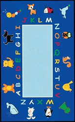 ABC Animals Rug - Oval - 6' x 9' - LCCPR404 - Learning Carpets