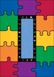 ABC Rainbow Puzzle Rug - Rectangle - 9' x 12' - LCCPR451 - Learning Carpets