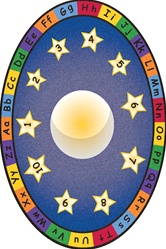 Moon & Stars - Oval - 6' x 9' - LCCPR508 - Learning Carpets