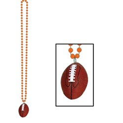 Orange Beads with Football Medallion