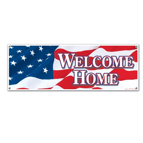 Welcome home sign banner patriotic decorations for sale for Patriotic welcome home decorations