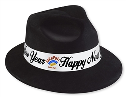 Custom Black Fedora with White Band