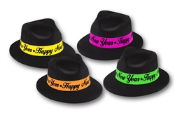 Black Fedora with Assorted Color Neon Bands | New Year's Eve Party Favors