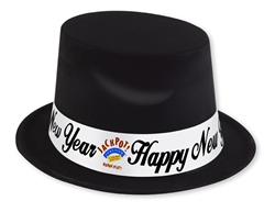 Custom Black Top Hat with White Band | New Year's Eve Party Favors
