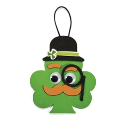 Shamrock with Mustache Ornament Craft Kit | Party Supplies