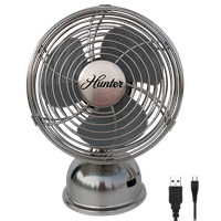 "Retro 5"" All-Metal Oscillating USB Fan in Brushed Nickel (90512)"