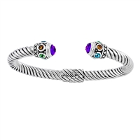 Sterling Silver Amethyst/ Multi-gemstone Hinged Cable Cuff Bracelet