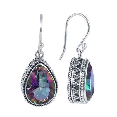 Sterling Silver Mystic Topaz Teardrop Earrings