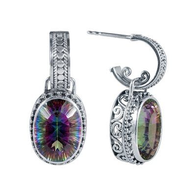 Sterling Silver Oval Mystic Topaz Earrings