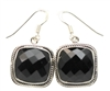 Sterling Silver Faceted Onyx Earrings