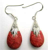 Sterling Silver Coral Teardrop Earrings