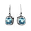 Sterling Silver Square Blue Topaz Cable Earrings