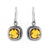 Sterling Silver Square Citrine Cable Dangle Earrings