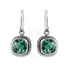 Sterling Silver Square Green Quartz Earrings