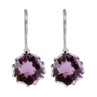 Sterling Silver Amethyst  Faceted Hexagon Earrings