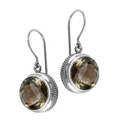 Sterling Silver Smoky Topaz Dangle Earrings