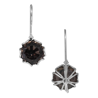 Sterling Silver Smokey Topaz Faceted Hexagon Earrings