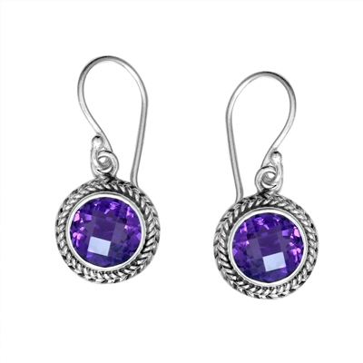 Sterling Silver Faceted Round Amethyst Dangle Earrings