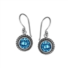 Sterling Silver Faceted Round Blue Topaz Dangle Earrings